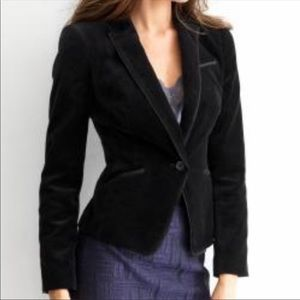 Banana Republic black velvet ribbon trim blazer